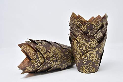 Bakery Direct - Confezione da 200 pezzi, colore: marrone con tulipano dorato