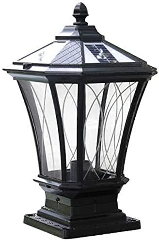 Columna solar negra Lámpara de césped Luces de pilar de jardín al aire libre Hogar Pared súper brillante Linterna de poste exterior Impermeable IP55 Patio Luz de paisaje Valla de aluminio a prueba de