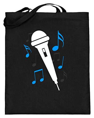 SPIRITSHIRTSHOP Micrófono, cantante, cantante, notas, notas musicales, cantante, música, estrella, banda, aficiones, famoso, bolsa de yute (con asas largas)., color Negro, talla 38cm-42cm