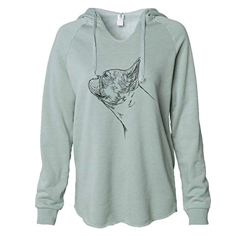 Inkopious French Bulldog Profile - Women's Cali Wave Hooded Sweatshirt -Sage Medium