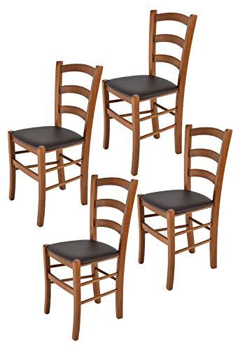 Tommychairs 4er Set Stühle Venice Robuste Struktur aus lackiertem Buchenholz im Farbton Nuss und Sitzfläche mit Kunstleder in der Farbe Mokka bezogen