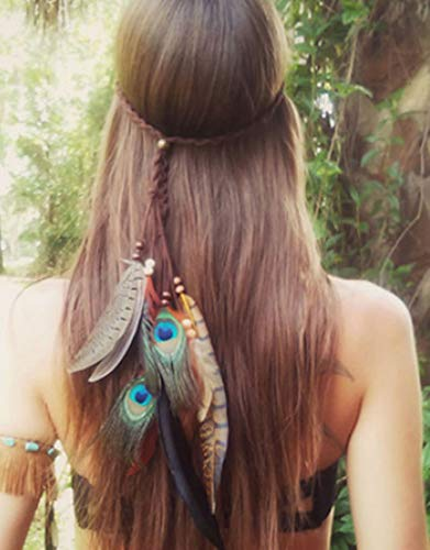 Simsly Boho Feather Headband Hippie Indian Headpiece 1920s Feather Head Chain Hair Piece Jewelry Accessories headdress Masquerade for Women and Girls