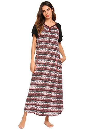 Ekouaer Womens Plus Size Nightgwon Plaid Sleepwear Night Dress Loungewear (Plaid, X-Large)