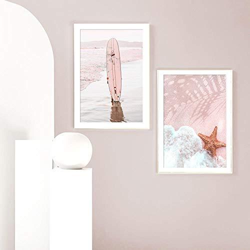 VVSUN Decoración Moderna de la Sala de Estar Playa Tabla de Surf Estrella de mar Arte de la Pared Pintura en Lienzo Carteles e Impresiones nórdicos Cuadros de Pared 40X60cm 16x24inchx2 Sin Marco
