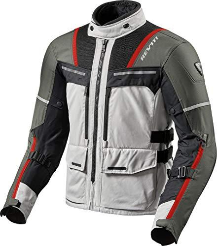 REV'IT! Motorradjacke mit Protektoren Motorrad Jacke Offtrack Textiljacke Silber/rot XL, Herren, Enduro/Adventure, Ganzjährig, Polyester