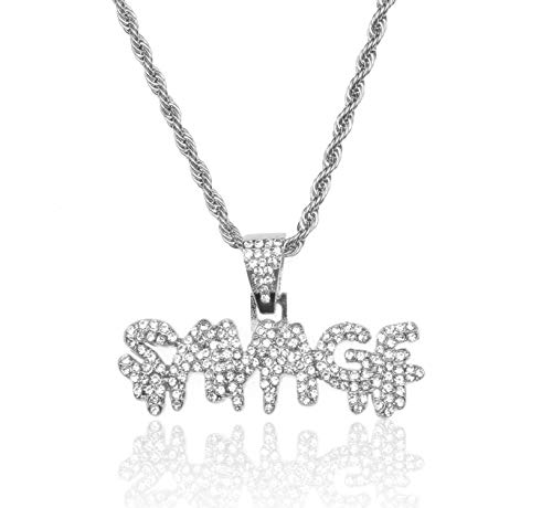 Halukakah Gold Chain for Men Iced Out,Platinum White Gold Finish Savage Letter Pendant Necklace,Full Cz Lab Diamonds Prong Set,with Rope Chain 24',Free Giftbox