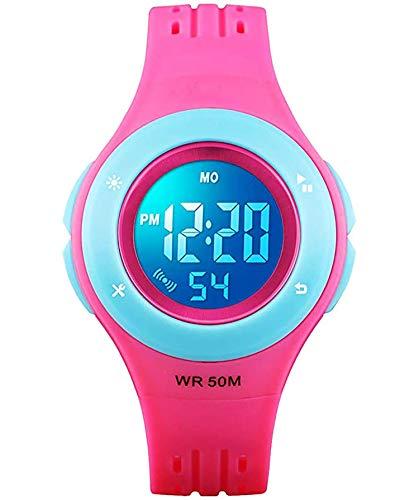 ETOWS Relojes para niños con luces de destello 50 m impermeable cronógrafo digital niños niñas reloj deportivo, Rosa rojo., Correa