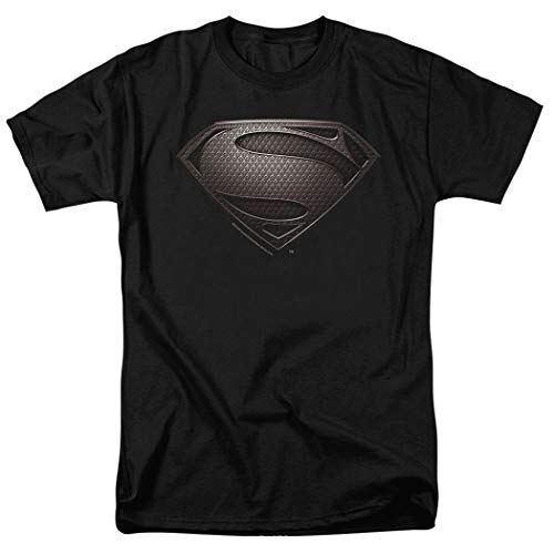 Popfunk Superman Man of Steel Movie Gray Shield Black T Shirt & Stickers (Large)