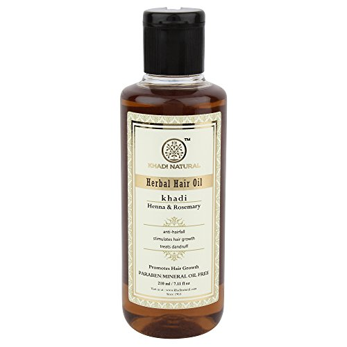 KHADI NATURAL Rosemary And Henna Hair Oil, Paraben and Mineral Oil Free, 210ml