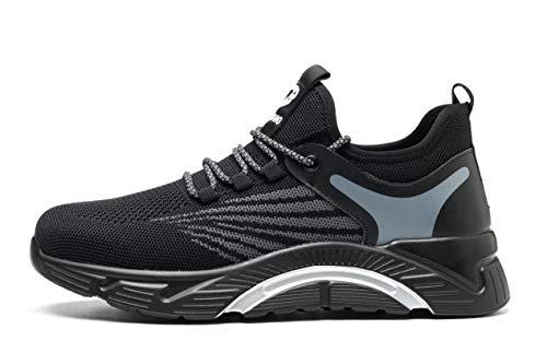 Zapatos de Seguridad Monrinda, Zapatos de Trabajo S3 para Hombres y Mujeres, Zapatillas Deportivas de Kevlar Antideslizantes con Puntera de Acero, Ligeras, Transpirables grayblack 42EU