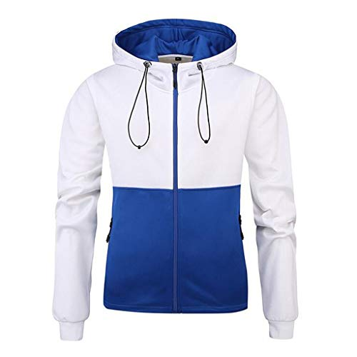 Men Fashion Sport Hoodies Sweatshirt Casual Patchwork Slim Fit Tracksuit Jackets Coat Beautyfine Sky Blue