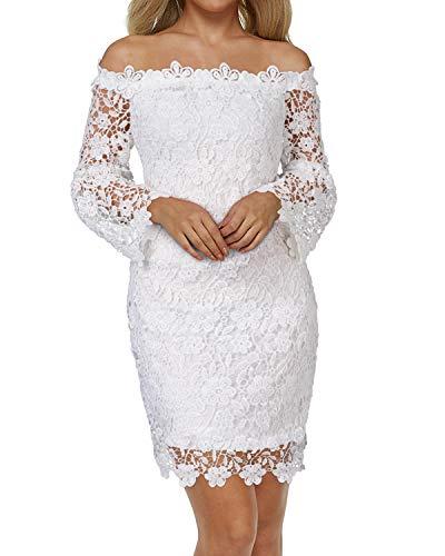 Auxo Damen Schulterfreie Langarm Kleider mit Spitze Elegant Blumen Kurz Abend Etuikleid Weiß EU 36/Etikettgröße S