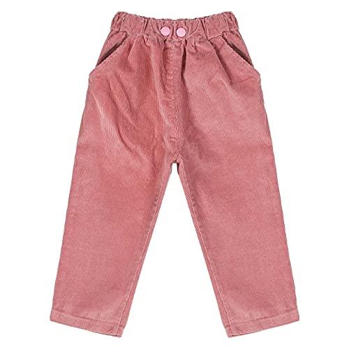 JEATHA Toddler Baby Boy Corduroy Cargo Pants Loose Harem Pants Elastic Jogger Leggings with Pockets Pink 12-18 Months
