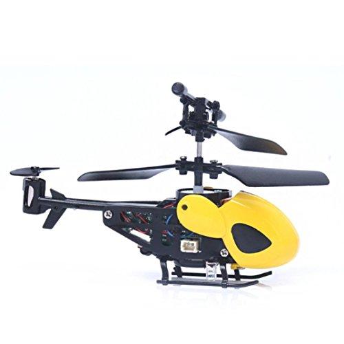 Gusspower RC Mini Helikopter, 2CH Infrarot Induktion Drone Fliegender Hubschrauber Eingebaute blinkt Licht Flugzeug für Kinder Flugspielzeug, Elektrische Micro 2 Kanal Flying Toy (Gelb)