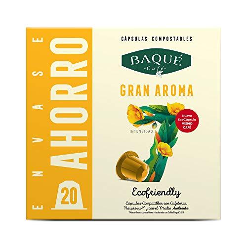 Cafés Baqué - 20 Capsulas Compatibles Nespresso Gran Aroma - Intensidad 7 De 10 - Capsulas Compostables 180 g