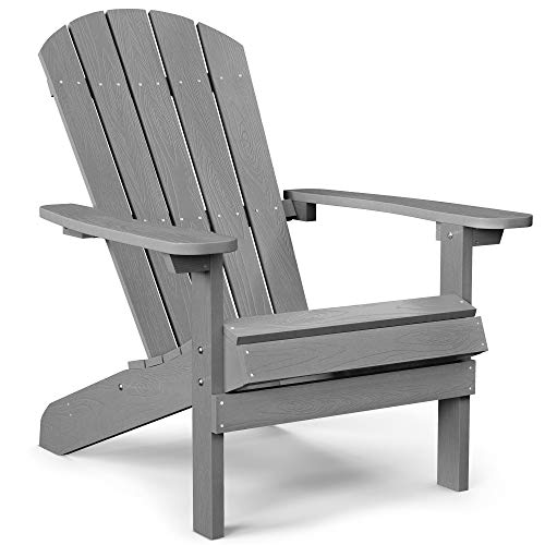 YEFU Adirondack Chair Plastic Weather Resistant, Patio Chairs 5 Steps Easy Installation, Looks Exactly Like Real Wood, Widely Used in Outdoor, Fire Pit, Deck, Outside, Garden, Campfire Chairs (Grey)