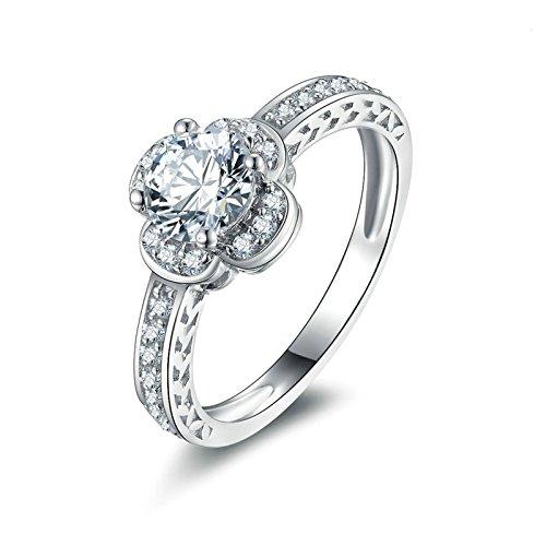 Beydodo Anelli Donna 925 Argento Anello di Fidanzamento in Argento con Rotonda Brillante Diamante Anelli Fiore Taglia 10-27