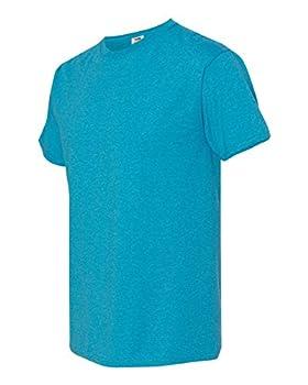 Fruit of the Loom mens 5 oz 100% Heavy Cotton HD T-Shirt 3931 -TURQUOISE HTHR-L-6PK