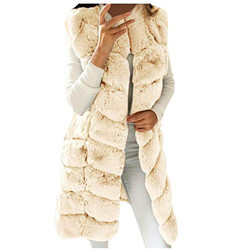 Las mujeres de invierno de piel sintética sin mangas Chaleco Fuzzy Color sólido cálido Outwear