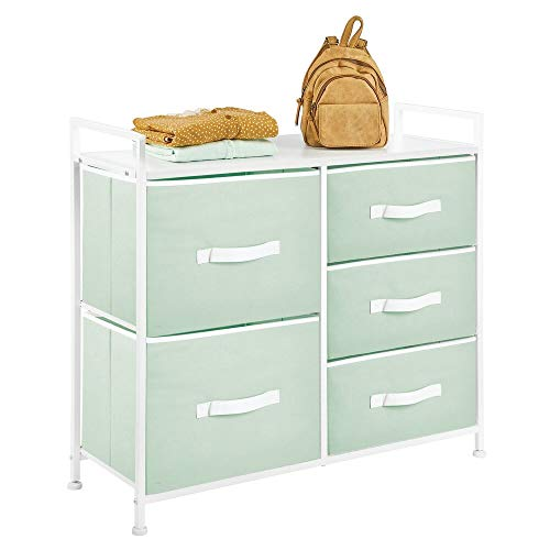 mDesign Tall Dresser Storage Chest - Sturdy Steel Frame, Wood Top, Easy Pull Fabric Bins - Organizer Unit for Bedroom, Hallway, Entryway, Closets - 5 Drawers - Mint Green/White