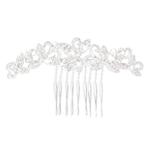 KEYkey Clips 1pc cristalina de la Boda de Las Horquillas del Pelo de Plata Novia de Dama de Cristal Accesorios de Cabello para Mujeres y niñas -9 * 5cm