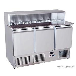 Table Pizza Réfrigérée - Avec saladette intégrée - 7 bacs GN 1/3 - Atosa - R600A 3 Portes Pleine