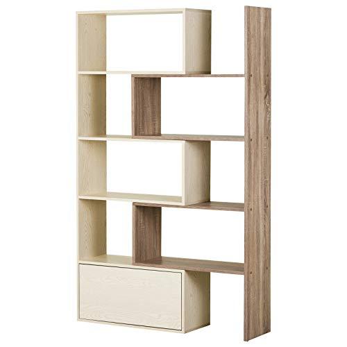 homcom Libreria Scaffale a Ripiani Salvaspazio 2 Pezzi per Soggiorno in Legno 141 x 29 x 176 cm Bianco, Rovere
