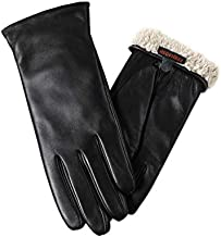 Warm Fleece Lining Touchscreen Texting Driving Winter Womens Leather Gloves Large a bit large