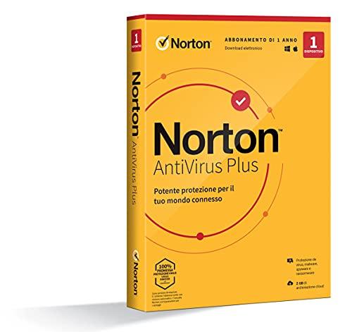 Norton Antivirus Plus 2021,Antivirus per 1 Dispositivo, Licenza di 1 anno, PC o Mac