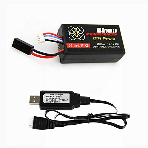 Gifi Power 11.1V 1500mAh 20C LiPo Battery for Parrot AR.Drone 2.0 Quadcopter 1 Pack with USB Charger