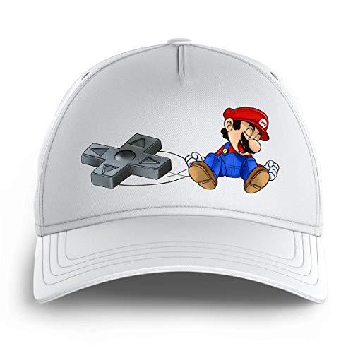 OKIWOKI Super Mario Lustiges Weiß Kinder Kappe - Super Mario (Super Mario Parodie signiert Hochwertiges Kappe - Einheitsgröße - Ref : 782)