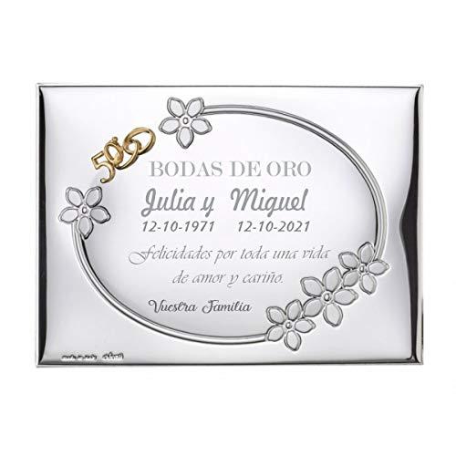 Curia Grabador Placa 50 Aniversario Bodas de Oro. Personalizado. Placa Homenaje 50 Aniversario. Placa Conmemorativa. 13x18cm