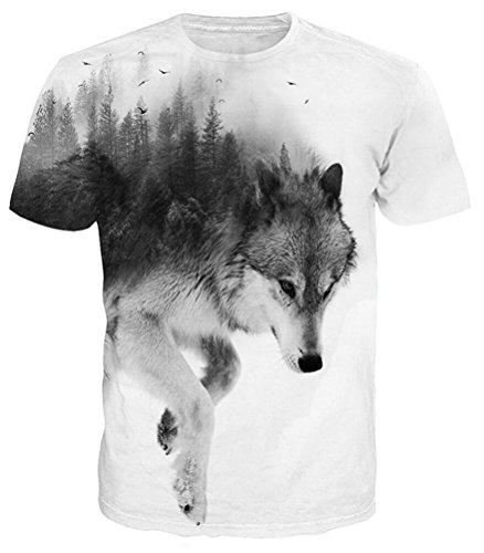 Idgretim 3D Printed Zwei Wolf Kurzarm T-Shirt für Jungen