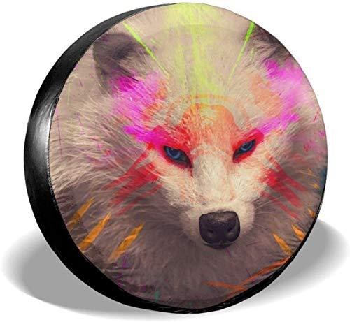 MODORSAN Raccoons, Blanco, Tribal, para Rueda de Repuesto, para neumáticos, de poliéster, Fundas para Ruedas universales para Jeep, Remolque, RV, SUV, camión, Accesorios, 14 Pulgadas