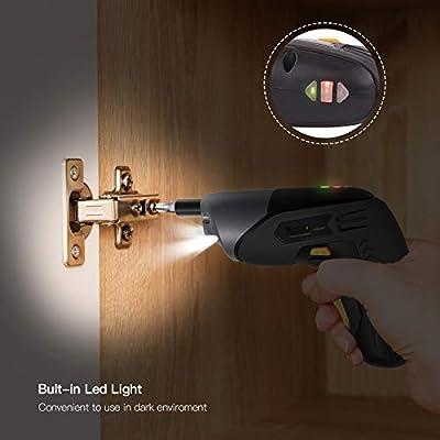 Cordless Screwdriver 10pcs Accessories and LED Light 2000mAh Li-ion 3.6V Rechargeable Screwdriver MAX Torque 4Nm USB Cable TECCPO Electric Screwdriver TDSC02P