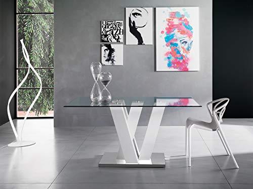 Am Group Home Tavolo cm 180 x 90 con Gambe Incrociate e Piano in Vetro temperato per Salotto, Living, Sala da Pranzo Moderno di Alta qualità (Bianco Lucido)