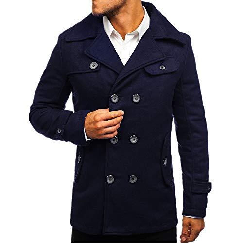 NOBRAND Abrigo de moda para hombre de longitud media con doble botonadura 3 L