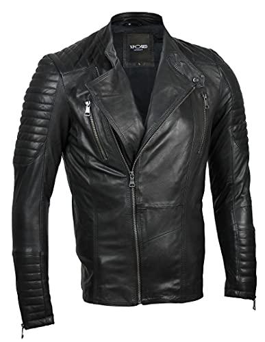 Xposed Chaqueta de motorista estilo retro para hombre, de piel auténtica, con cremallera, elegante, informal, de ajuste delgado, color negro