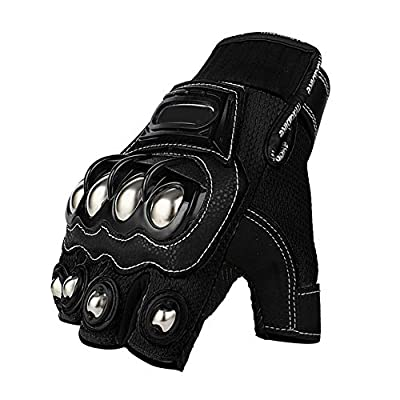 Steel Outdoor Reinforced Brass Knuckle Motorcycle Motorbike Powersports Racing Textile Safety Gloves (Touch Screen, X-Large)