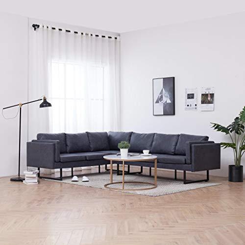 FESTNIGHT Sofá de Esquina Moderno Sofá Chaise Longue Sofá Cama de Piel de Ante Artificial Gris 251 x 198 x 77 cm