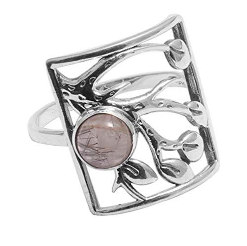 Anillo de plata de ley 925 maciza de cuarzo rutilo negro para mujeres y niñas, talla 9 FR-155