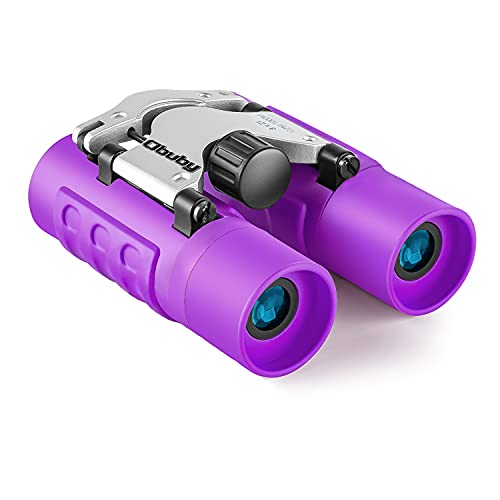 Obuby Real Binoculars for Kids Gifts for 3-12 Years Boys Girls 8x21 High-Resolution Optics Mini Compact Binocular Toys Shockproof Folding Small Telescope for Bird Watching,Travel, Camping, Purple