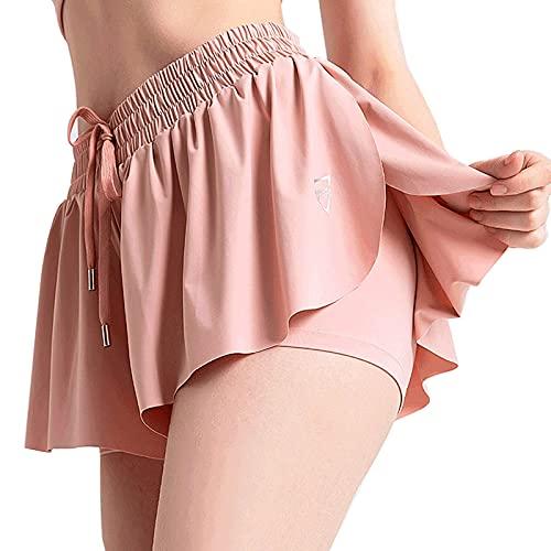 Elastic Waist Skirts for Women Short Casual Pleated Golf Skirt with Pockets Running Tennis Skirt A-Line Swing Skirt Pink
