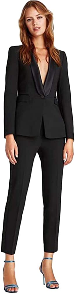 Women's Shawl Lapel 2 Pieces Business Suit Set Lady Office Suit for Work