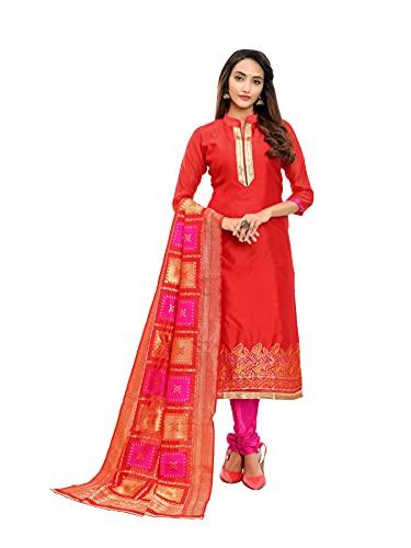 SB Traders Listo para usar vestido de banarasi pesado casual traje de salwar para mujeres y niñas, Rojo Tomate, S