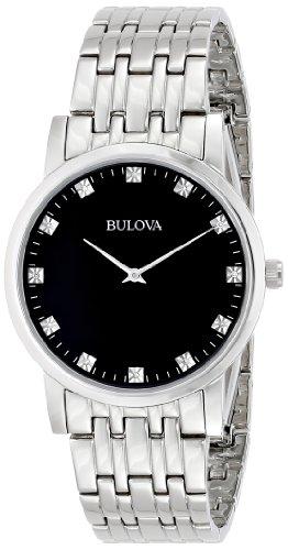 Bulova Men's 96D106 Diamond-Accented Stainless Steel Watch
