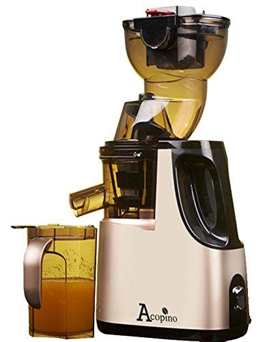 Acopino 361 Delicato Slow Juicer Kaltpress-Entsafter mit Press-Schnecken-Technik für ganze Früchte, champagner