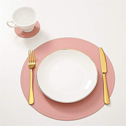 OYPY Leder Tischset Geschirr Auflage mit Coaster Wasserdicht Oilproof Tablemat Küche Waschbar Wärmedämmung Non-Slip Bowl Cup Pads (Farbe : Rosa, Größe : 2pcs)