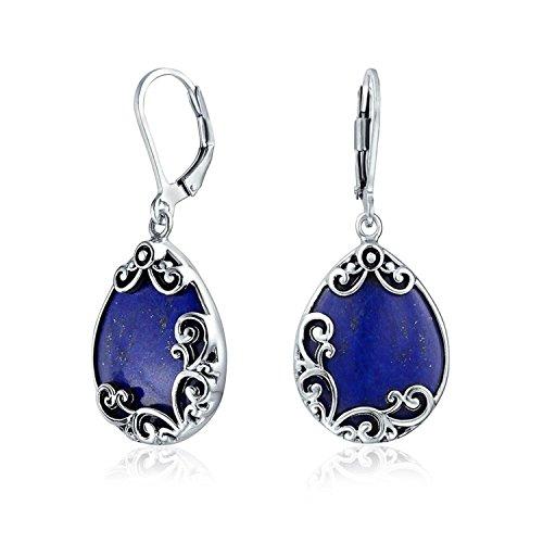 Bali Träne Blättern Filigranen Blättern Blau Lapis Lazuli Baumeln Ohrringe Leverback Für Damen 925 Sterling Silber