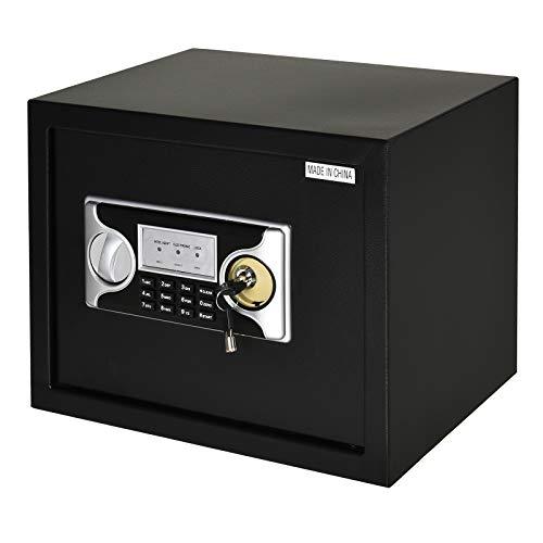 HOMCOM Caja Fuerte Electrónica Sólida Caja de Seguridad con Llave 2 Códigos para Casa Oficina Capacidad de 27 L Acero 38x30x30 cm Negro